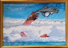Christopher Scott - Oljemålning - Partiellt Självporträtt i Arktis