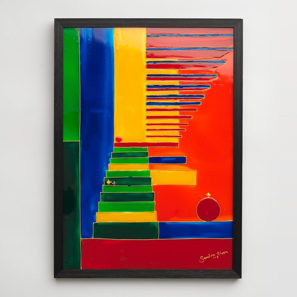 Sandra Steen - Originalmålning på glas - Trappa Upp