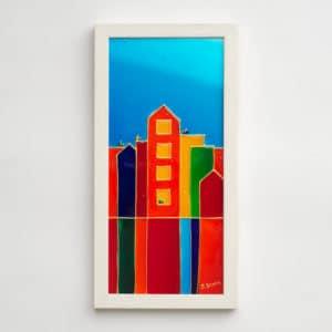 Sandra Steen - Originalmålning på glas - Liten Stad