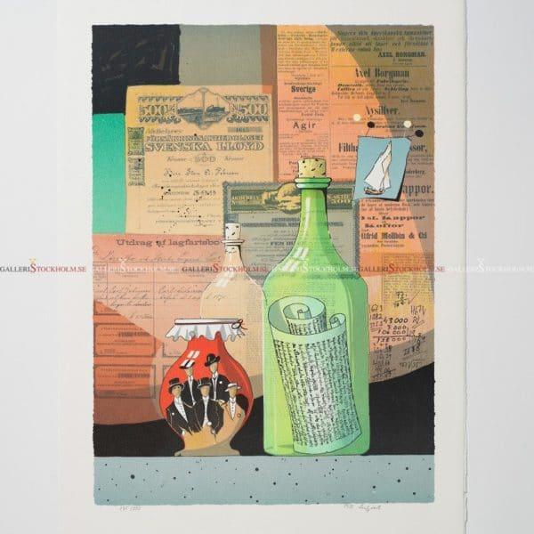 Bo Erik Lundqvist - Litografi - Grön flaska
