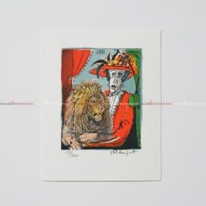 Bo Erik Lundqvist - Litografi - Lady in Red