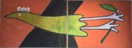 Jeanette Karsten - Originalmålning - Joyful Bird No 8