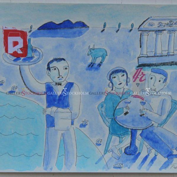 Jonas Fredén - Akvarell - Drick Vid Havet