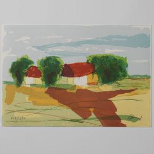 ANDERS PALMÉR - LITOGRAFI - HUSEN