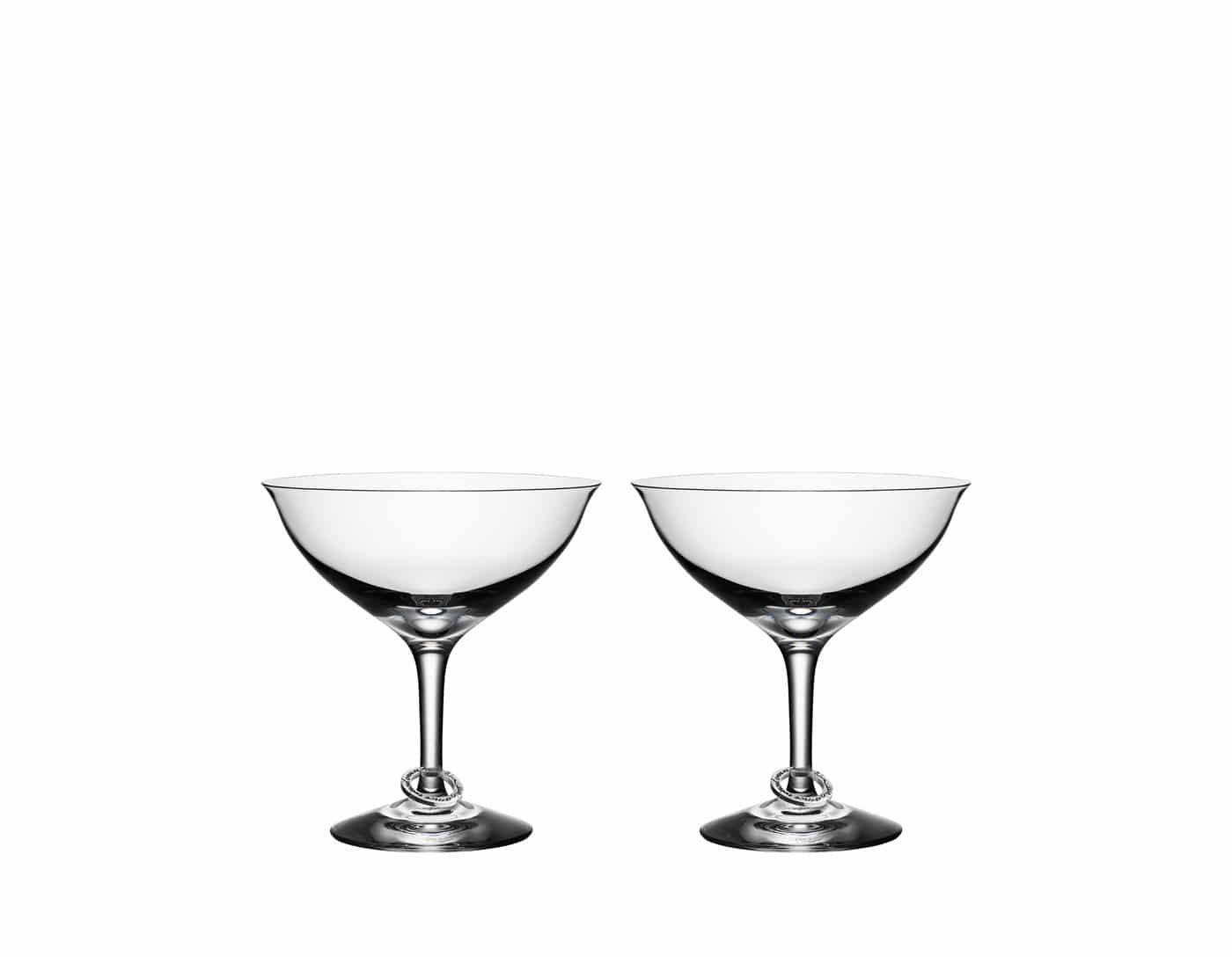 Efva Attling - Glaskonst - Orrefors - Amor vincit omnia - Champagneskål 2 st