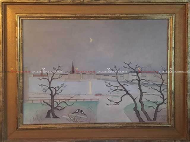 Einar Jolin - Oljemålning - Utsikt mot Riddarholmen