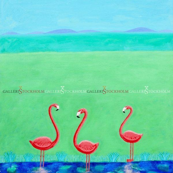 Jonas Fredén - Gicléetryck - Flamingos i landskap