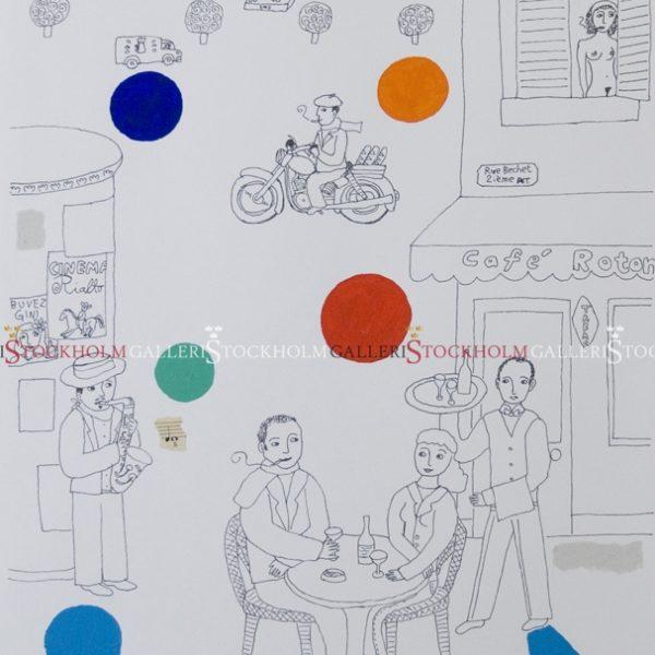 Jonas Fredén - Handkolorerad Litografi - Paris Martin