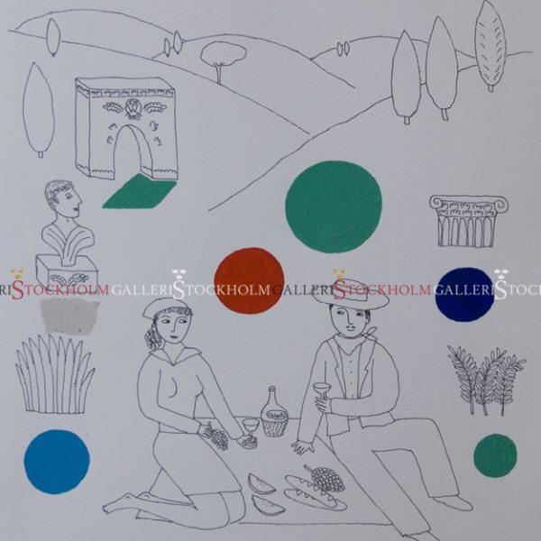 Jonas Fredén - Handkolorerad Litografi - Vid Palatinens Sluttning