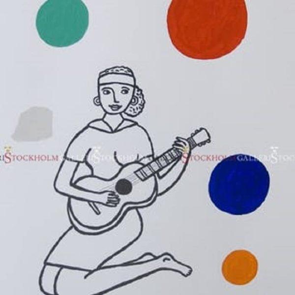 Jonas Fredén - Litografi - Kvinna med gitarr