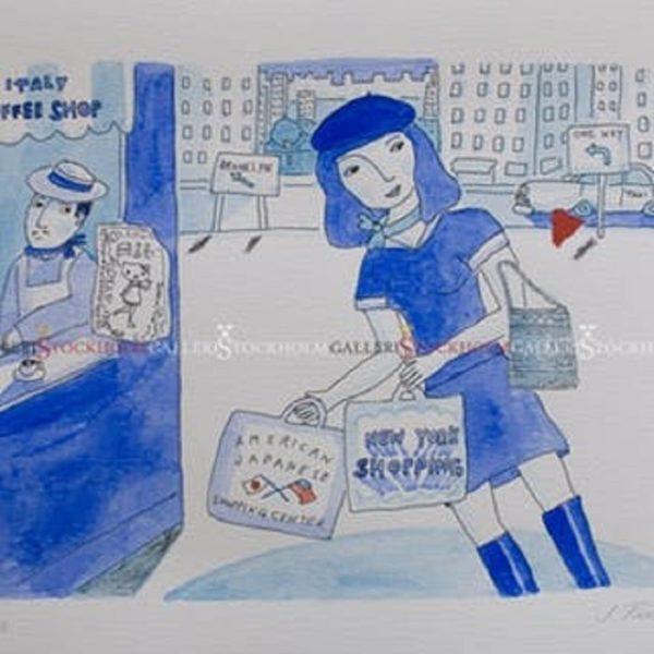 Jonas Fredén - Litografi - New York Shopping Girl