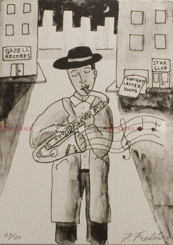 Jonas Fredén - Litografi - Lester Young