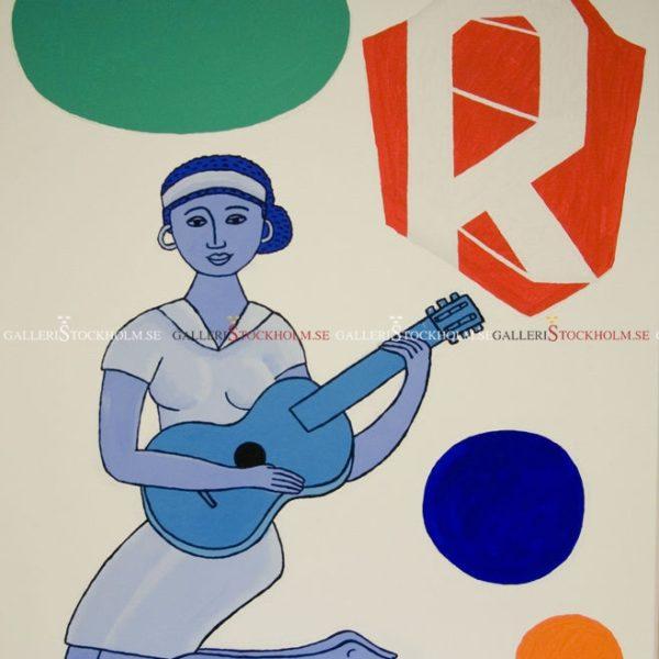 Jonas Fredén - Oljemålning - Kvinna med gitar