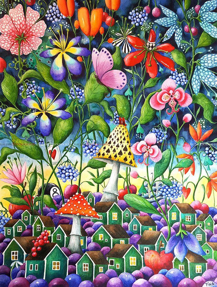 Josefina Wendel Carlsson - Akvarell - Kat´s Garden