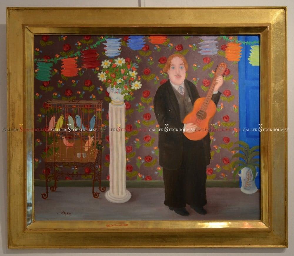 Lennart Jirlow - Oljemålning - Trubaduren