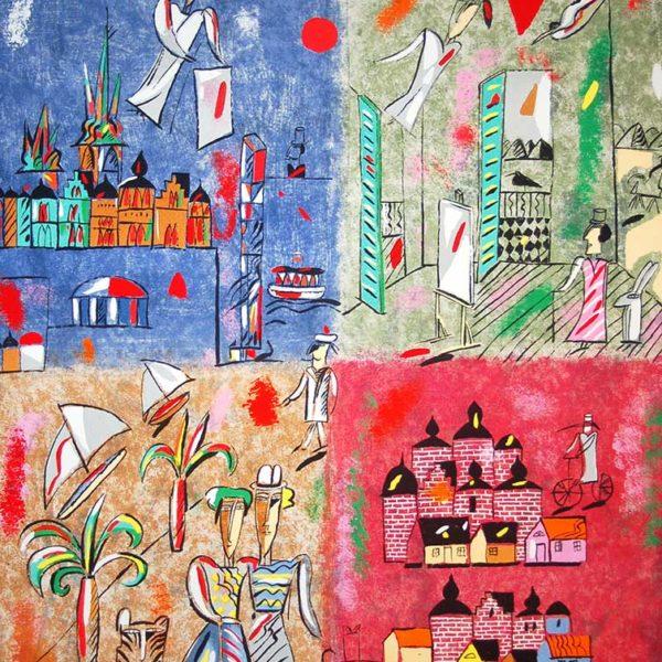 Madeleine Pyk - Litografi - Österlen I:Fyra kontinenter