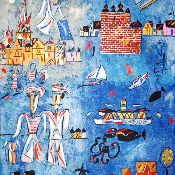 Madeleine Pyk - Litografi - Österlen II den blå filen