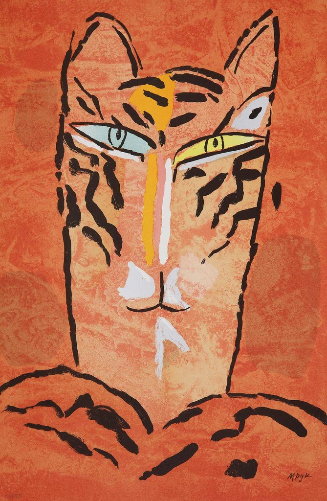 Madeleine Pyk - Litografi - Tre Tigrar, Röd