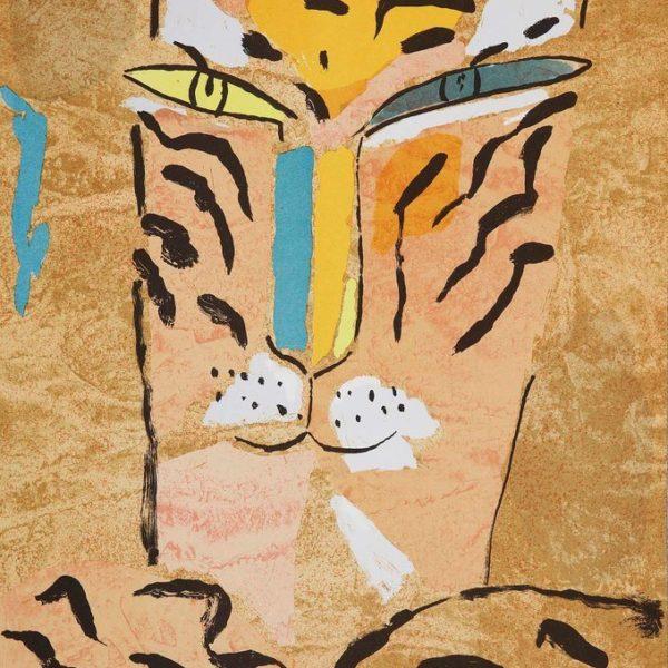 Madeleine Pyk - Litografi - Tre Tigrar, Gul