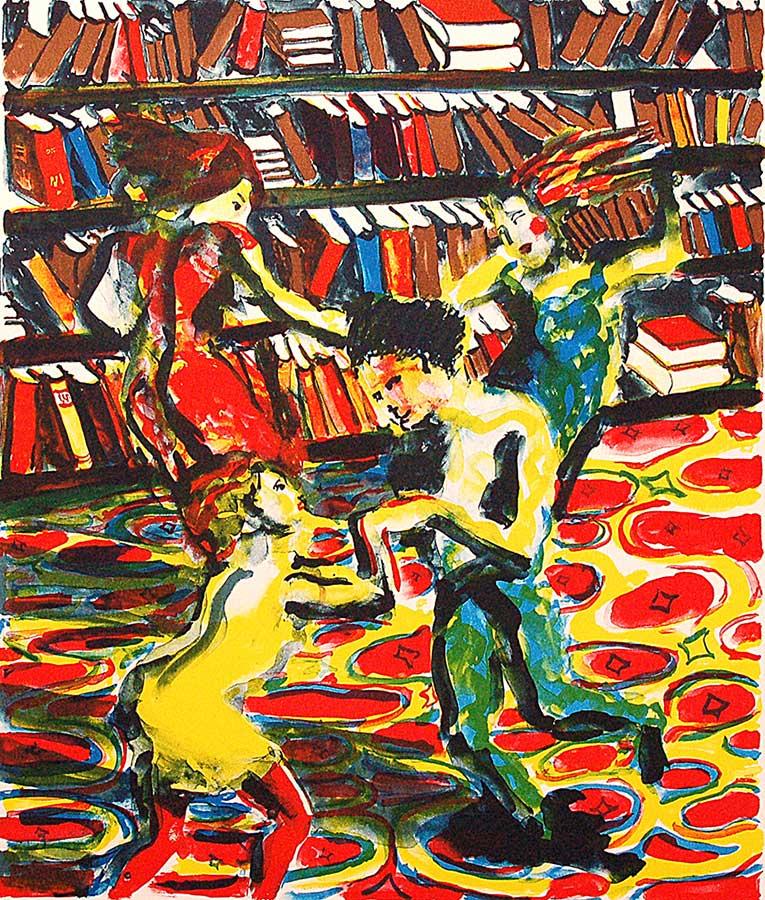 Peter Dahl - Litografi - Bokbugg