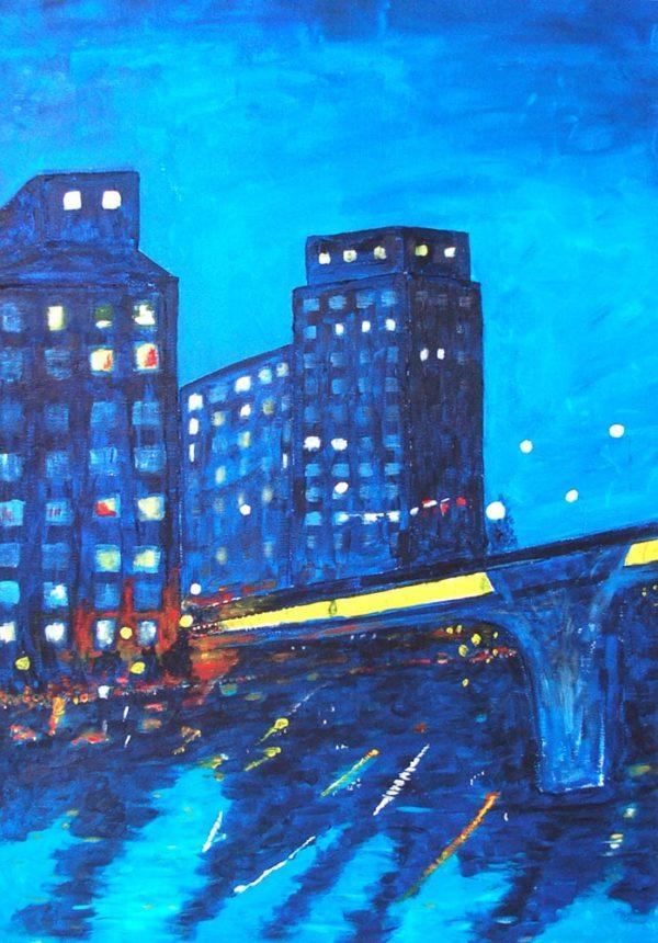 Plura Jonsson - Litografi - Kväll med Sankt Eriksbron
