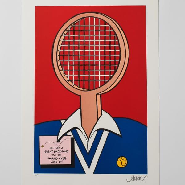 Petter Thoen - Litografi - Tennis!