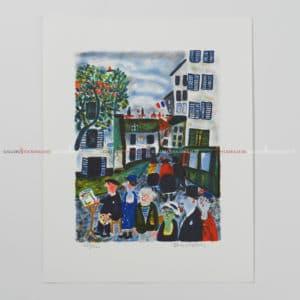 Sven Lidberg - Litografi - En målare i Paris