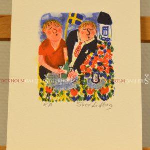 Sven Lidberg - Litografi - Flaggans Dag