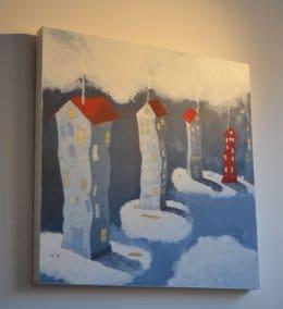 Per Nylén - Oljemålning -Hus på moln 25