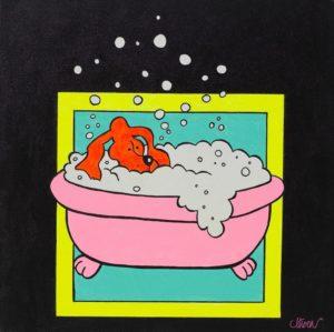 Petter Thoen - Fido taking a bath!