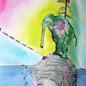 Niclas G Thalberg - Akvarell - Kvinnan i sjön
