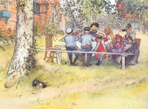 Carl Larsson - Frukost under stora björken - Bordstablett