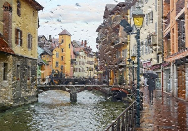 Rainy day in Annecy. France