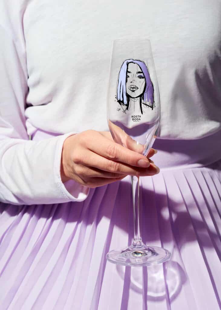 Sara Woodrow All about you champagneglas Kosta Boda