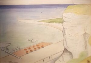 Einar Jolin - Parasoller Köpa konst Original Akvarellmålning.